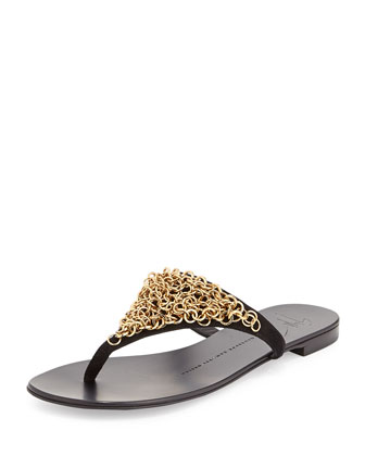 Chained Suede Flip Flop