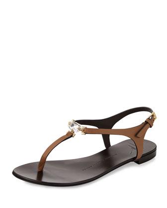 Crystal Flat Thong Sandal