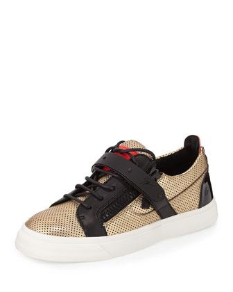 Perforated Metallic Sneaker, Gold/Black