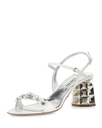 Faceted Jewel-Heel Sandal, Bianco