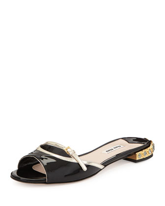 Patent Leather Jeweled-Heel Slides, Black/Pirite