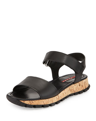 Saffiano Upper Cork Bottom Sandal, Nero