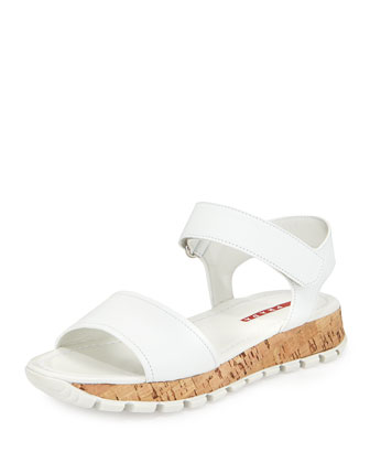 Saffiano Upper Cork Bottom Sandal, White