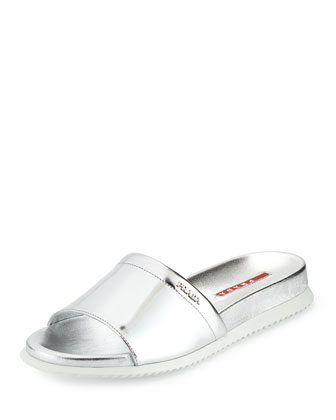 Metallic Single Band Sport Sandal, Silver