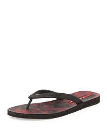 Camouflage Bottom Thong Sandal, Bordeaux