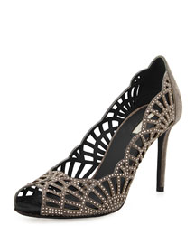 Scalloped Suede & Crystal Pump, Fog