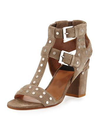 Helie Double-Buckle Sandal, Beige