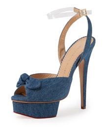 Serena Denim Platform Ankle-Wrap Sandal