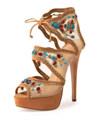 Arizona Suede-Trim Mesh Platform Sandal, Wheat