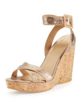 Annex Metallic Wedge Sandal, Penny