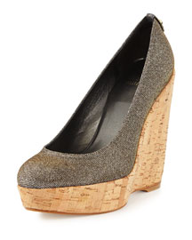 Corkswoon Metallic-Fabric Wedge Pump, Pyrite
