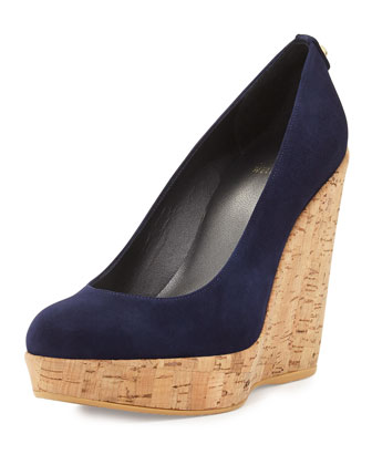 Corkswoon Suede Wedge Pump, Nice Blue
