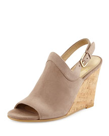 Liner Up-Front Slingback Wedge Sandal, Haze