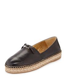 Leather Cap-Toe Flat Espadrille, Black (Nero)