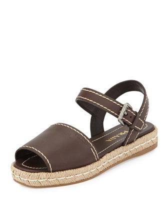 Leather Espadrille Sandal, Cocco
