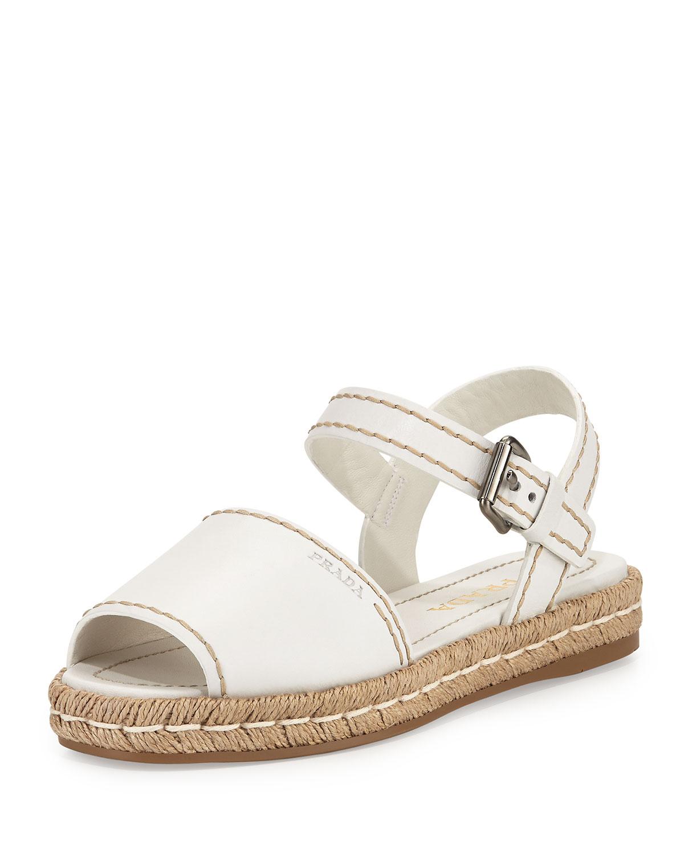 Prada Leather Espadrille Sandal, Bianco, Size: 37 EU (7B US), Bianco (White)