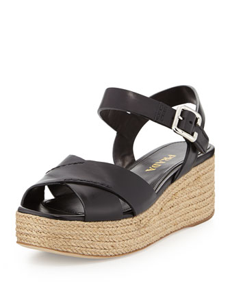 Leather Crisscross Platform Sandal, Black