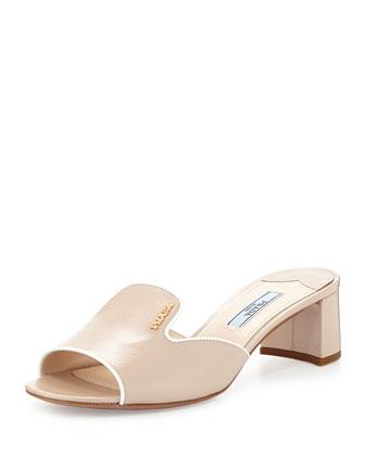 Patent Saffiano Slide Sandal, Cipria/Bianco