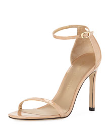Nudistsong Patent Ankle-Strap Sandal, Adobe