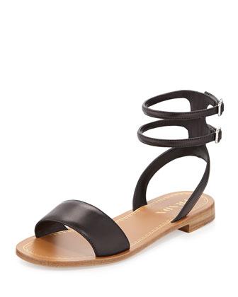 Double Ankle-Wrap Flat Sandal, Black (Nero)