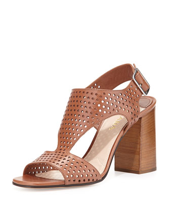 Perforated Leather T-Strap Sandal, Brandy