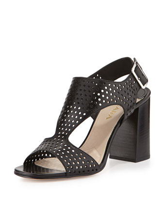 Perforated T-Strap Sandal, Nero
