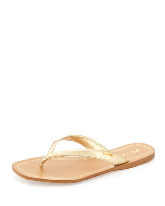 Metallic Leather Logo Thong Sandal, Platino