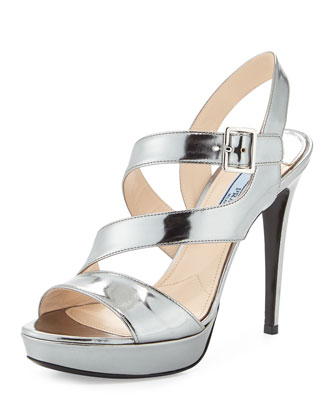 Asymmetric Metallic Leather Sandal, Cromo