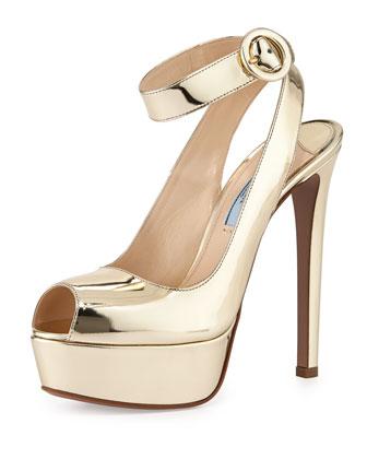 Metallic Ankle-Wrap Platform Sandal, Pirite