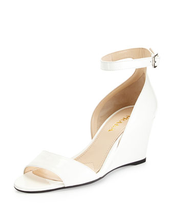 Patent Demi-Wedge Sandal, White