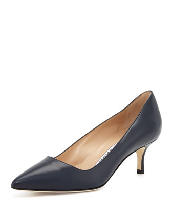 BB Leather 50mm Pump, Navy (Made to Order)
