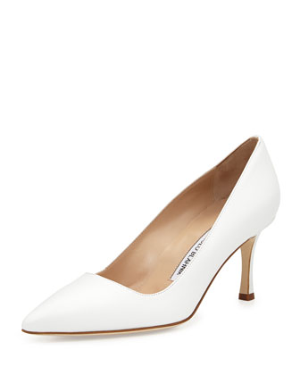 BB Leather 70mm Pump, White (Made to Order)