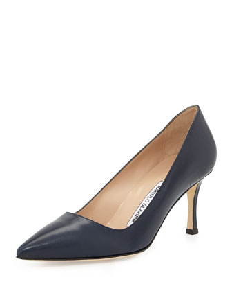 BB Leather 70mm Pump, Navy (Made to Order)