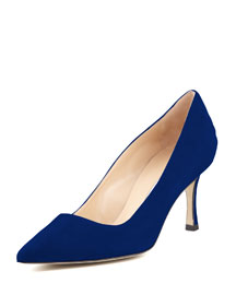 BB Suede 70mm Pump, Cobalt