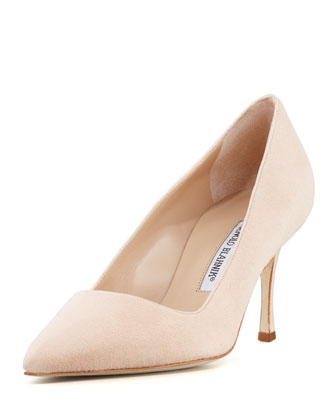 BB Suede 70mm Pump, Nude (Made to Order)
