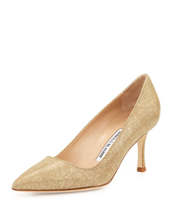 BB Suede 70mm Pump, Natural Gold (Made to Order)