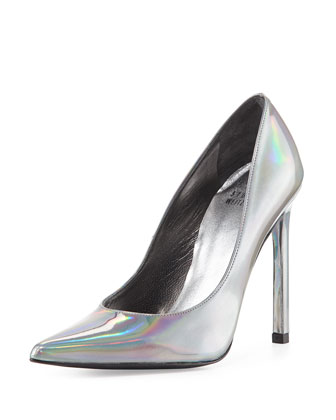 Queen Iridescent Point-Toe Pump, Pewter