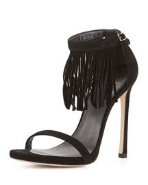 Lovefringe Suede Sandal, Black