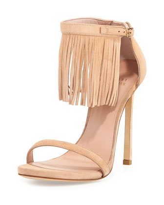 Lovefringe Suede Sandal, Bisque