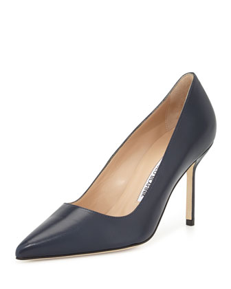 BB Leather 90mm Pump, Navy (Made to Order)