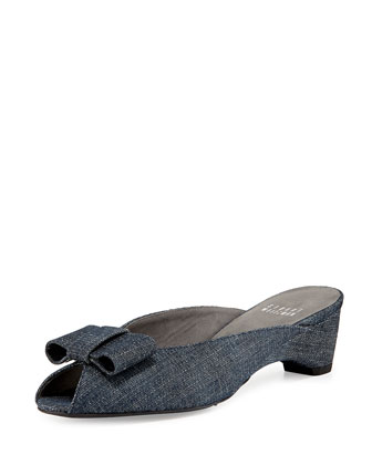 Candy Peep-Toe Denim Bow Slide Sandal, Navy