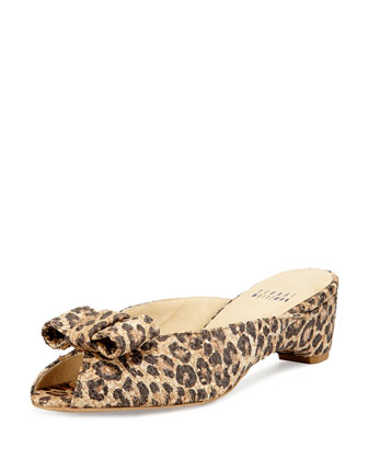 Candy Leopard-Print Woven Bow Slide Sandal
