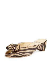Candy Zebra-Print Woven Bow Slide Sandal