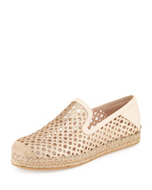 County Glitter Espadrille Flat, Sand
