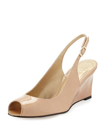 Decoslinky Patent Slingback Wedge, Adobe