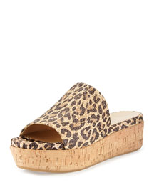 Flatout Leopard-Print Wedge Slide