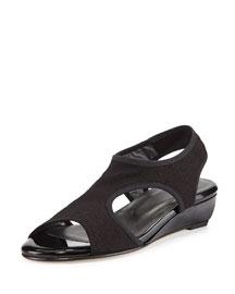 Giver Stretch Demi-Wedge Sandal, Nero