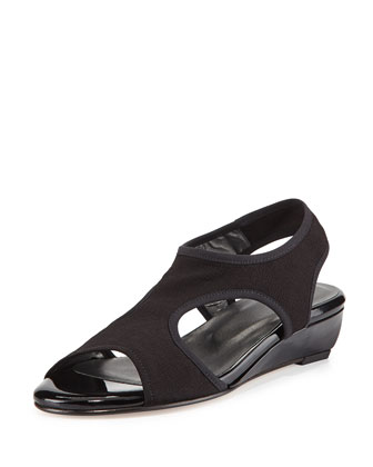 Giver Stretch Demi-Wedge Sandal, Nero