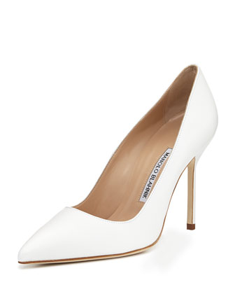 BB Leather 105mm Pump, White (Made to Order)