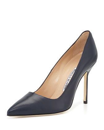 BB Leather 105mm Pump, Navy (Made to Order)